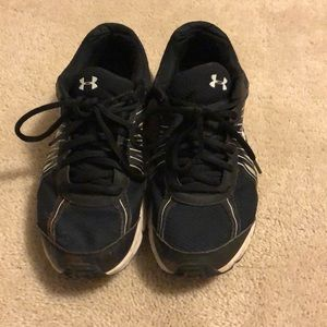 Under Armor black and white running shoes